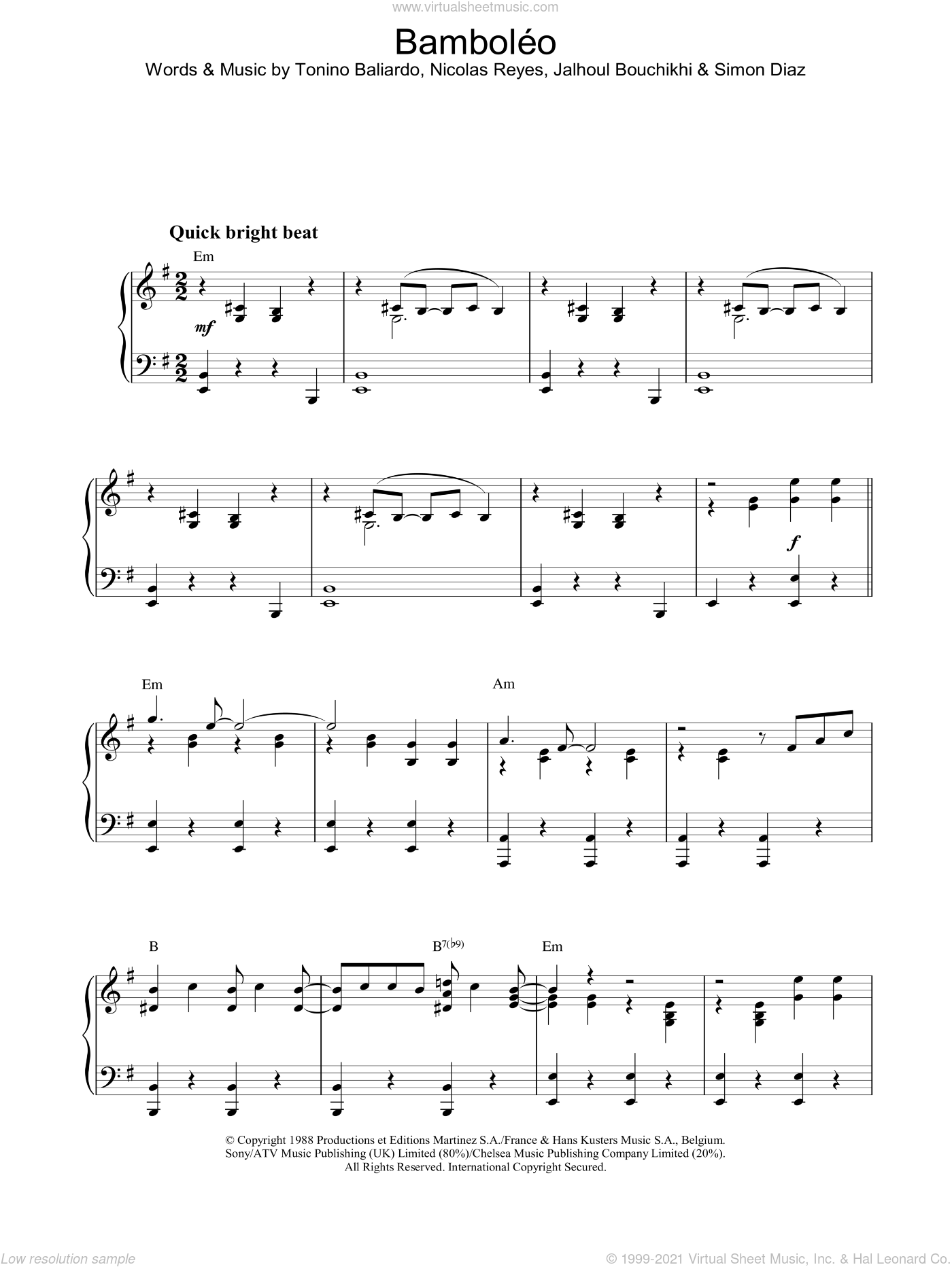 BambolEo sheet music for piano solo by The Gipsy Kings, intermediate skill level