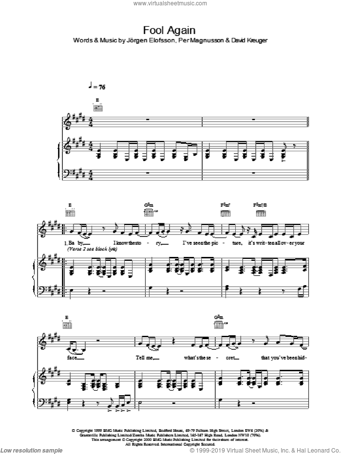 Fool Again sheet music for voice, piano or guitar by Westlife, intermediate. Score Image Preview.