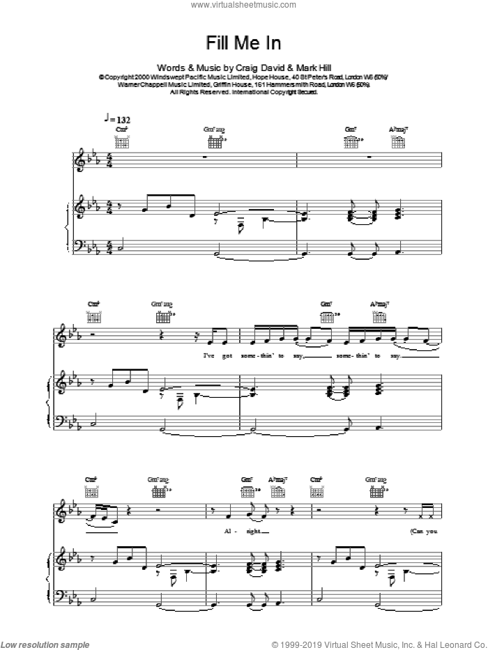 Fill Me In sheet music for voice, piano or guitar by Craig David. Score Image Preview.