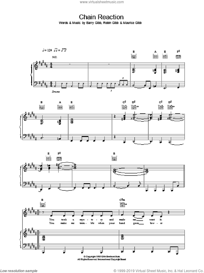 Chain Reaction sheet music for voice, piano or guitar by Diana Ross, intermediate skill level