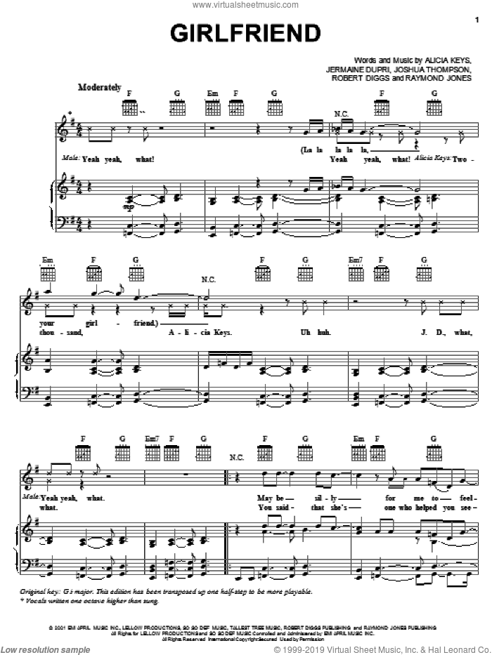 Girlfriend sheet music for voice, piano or guitar by Joshua Thompson, Alicia Keys and Jermaine Dupri. Score Image Preview.