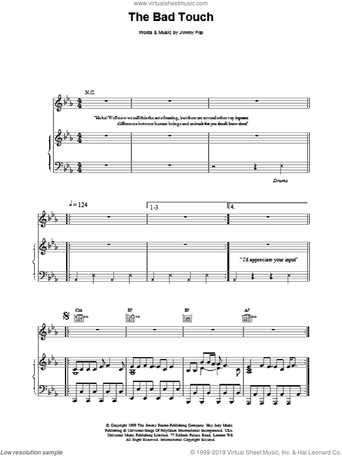 The Bad Touch sheet music for voice, piano or guitar by Bloodhound Gang, intermediate