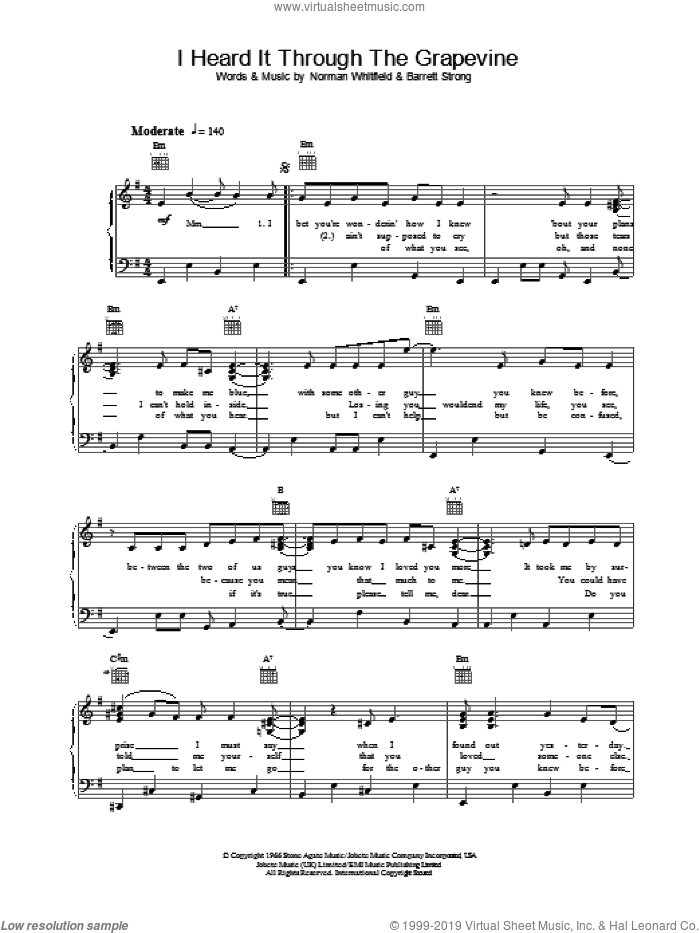 I Heard It Through The Grapevine sheet music for piano solo by Marvin Gaye, intermediate skill level