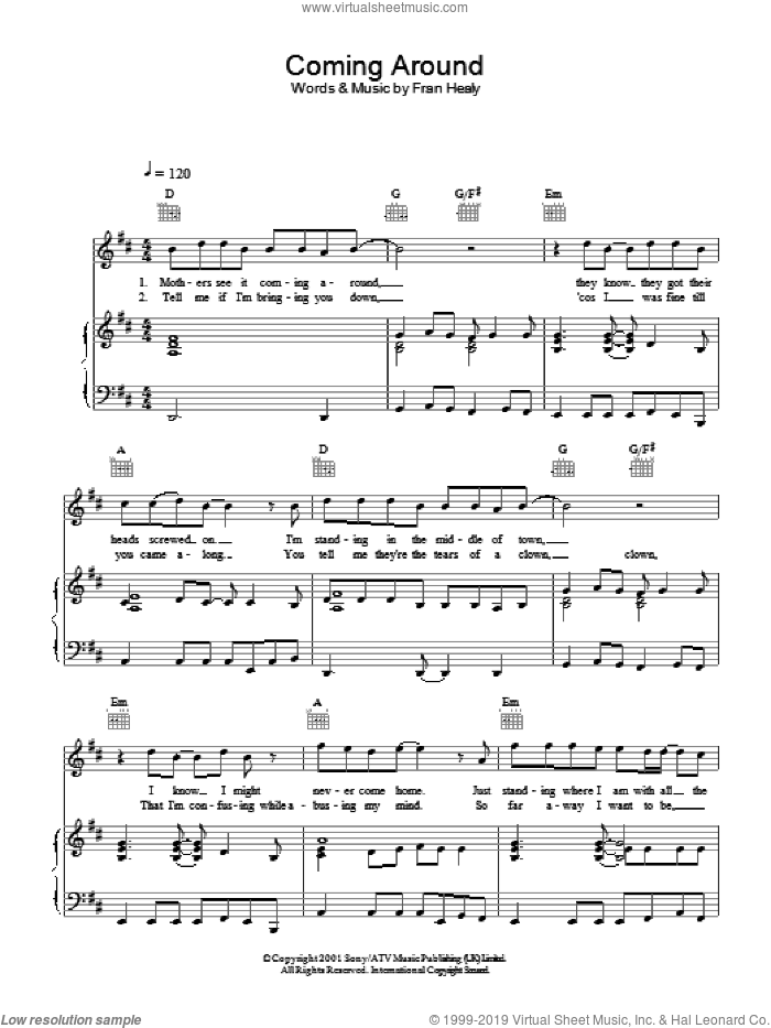 Coming Around sheet music for voice, piano or guitar by Merle Travis