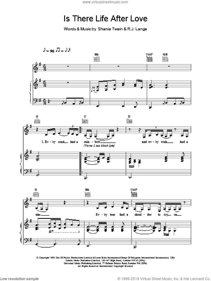 Is There Life After Love sheet music for voice, piano or guitar by Shania Twain, intermediate