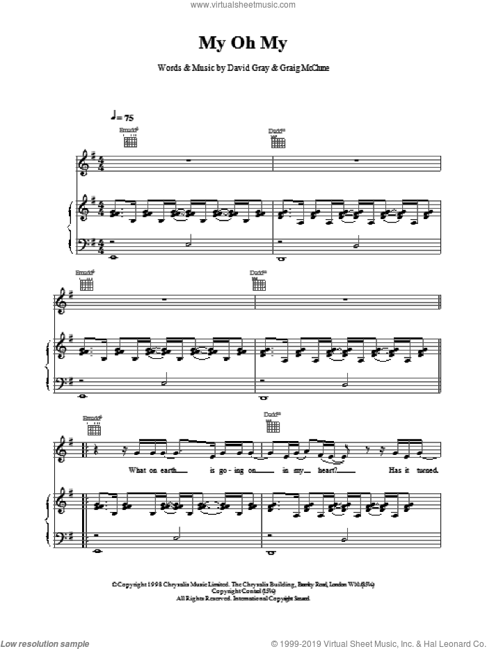 My Oh My sheet music for voice, piano or guitar by David Gray