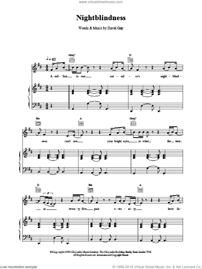 Nightblindness sheet music for voice, piano or guitar by David Gray. Score Image Preview.