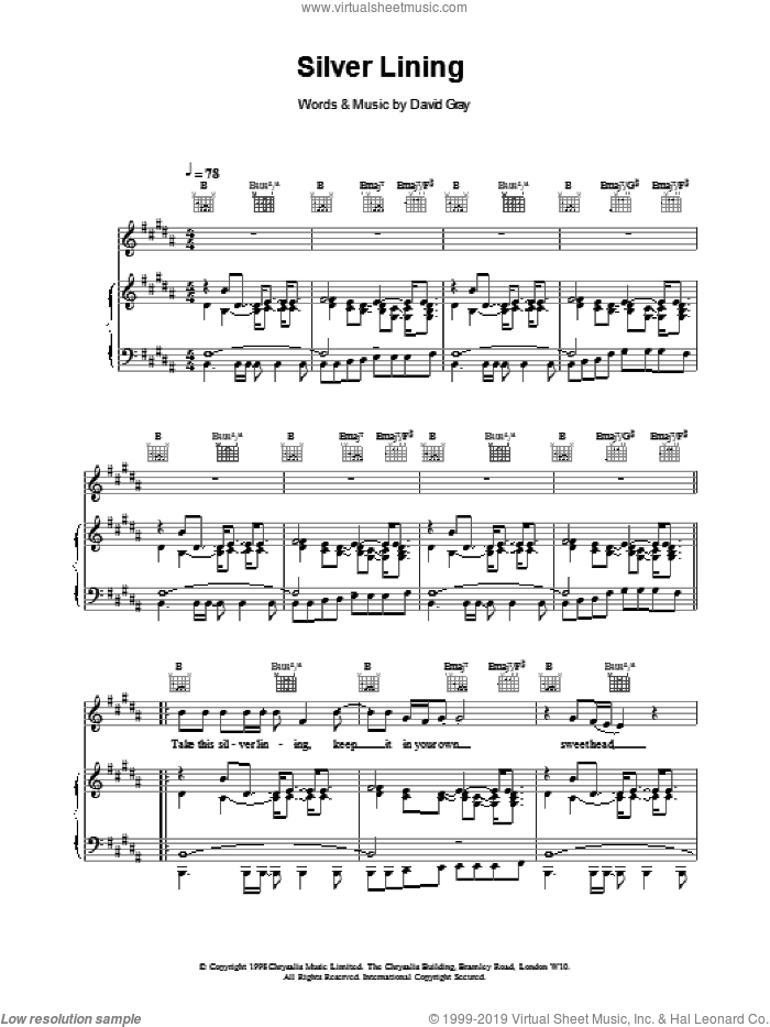 Silver Lining sheet music for voice, piano or guitar by David Gray. Score Image Preview.
