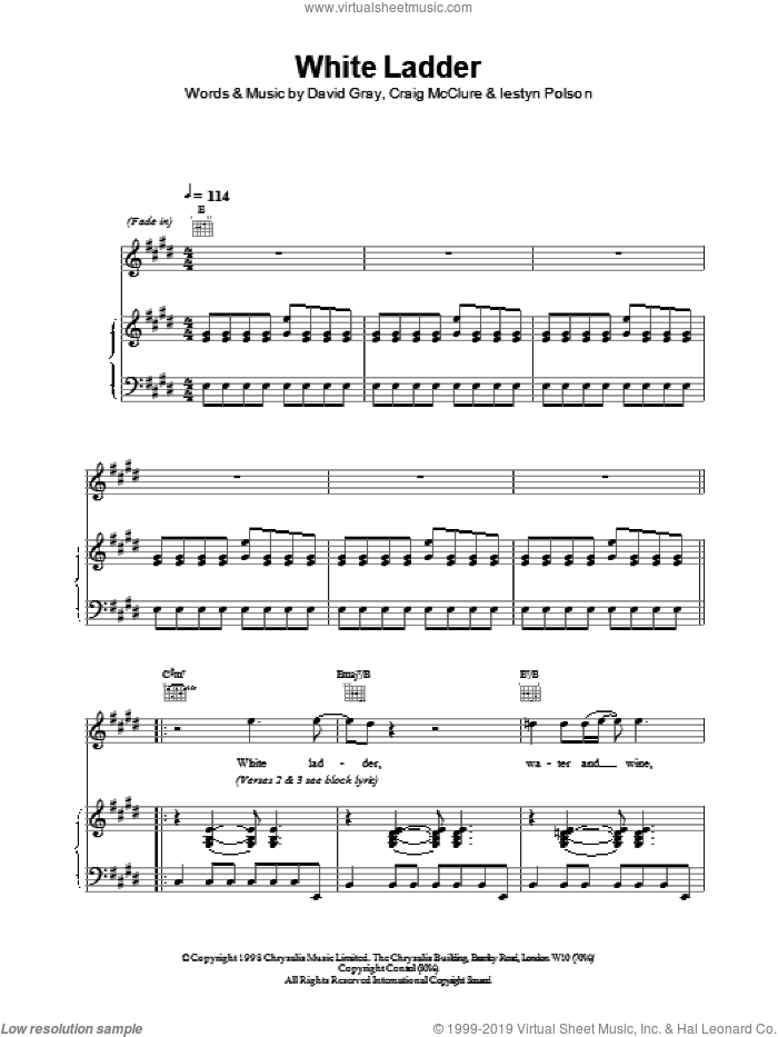 White Ladder sheet music for voice, piano or guitar by David Gray