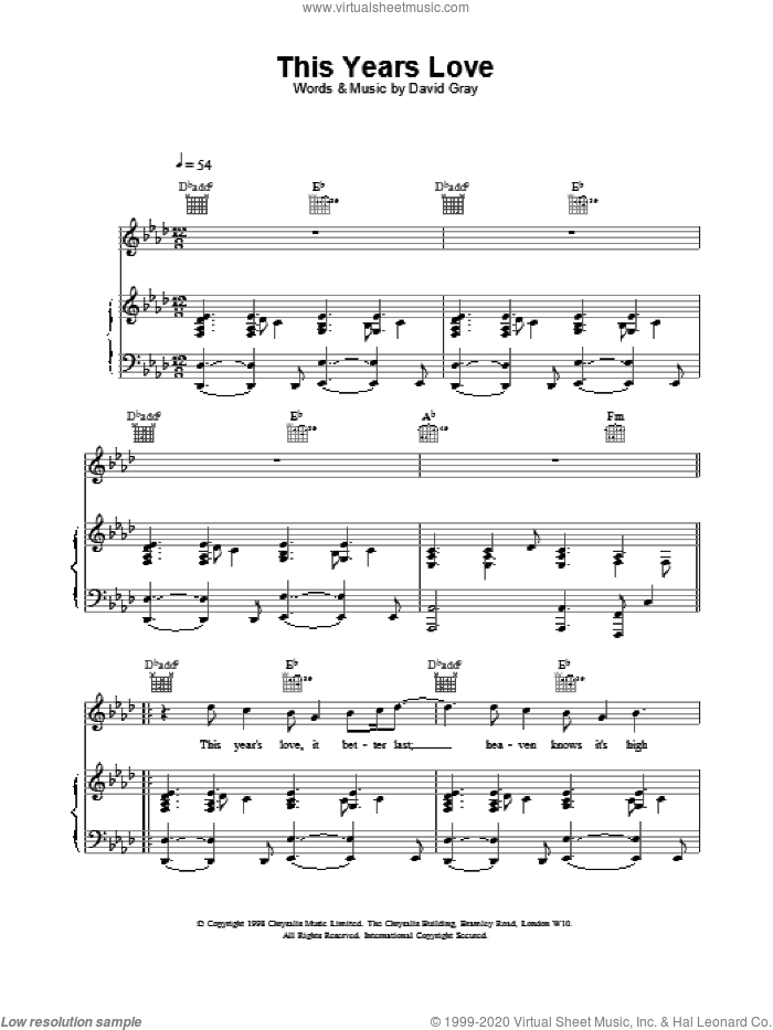 This Year's Love sheet music for voice, piano or guitar by David Gray, intermediate voice, piano or guitar. Score Image Preview.