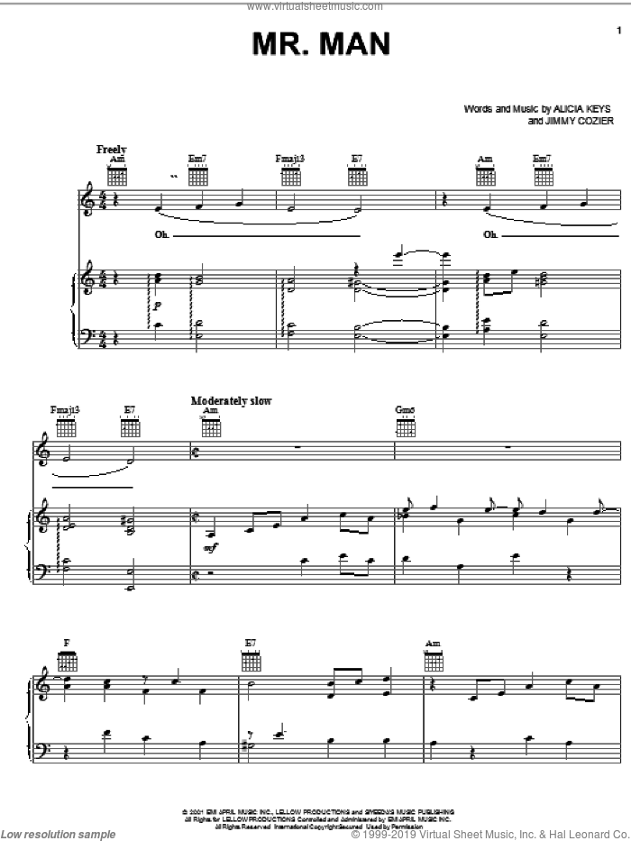 Mr. Man sheet music for voice, piano or guitar by Alicia Keys and Jimmy Cozier, intermediate skill level