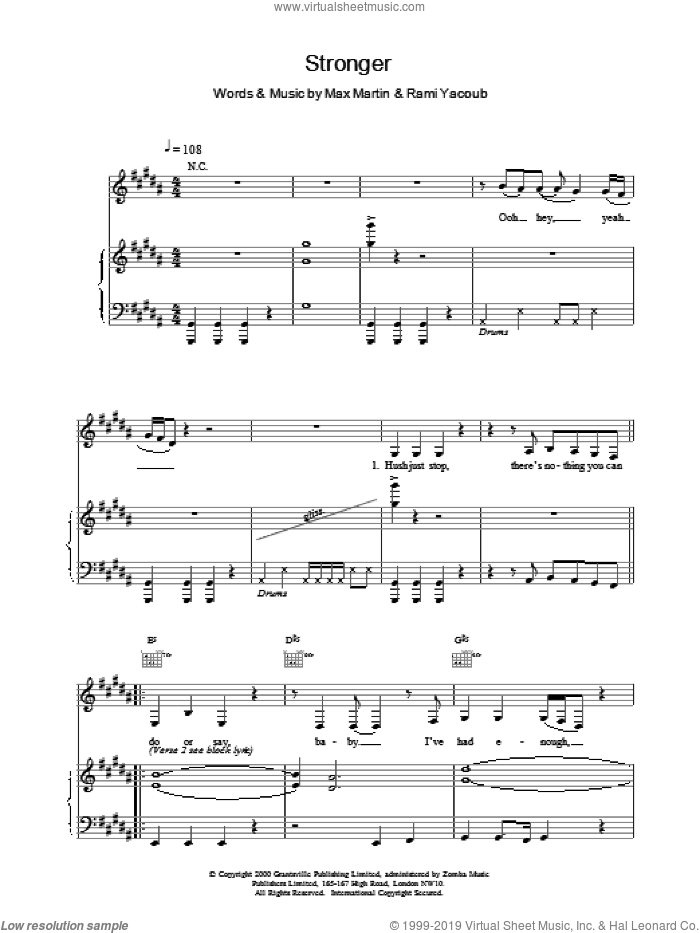 Stronger sheet music for voice, piano or guitar by Britney Spears, intermediate skill level