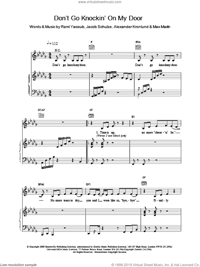 Don't Go Knockin' On My Door sheet music for voice, piano or guitar by Britney Spears. Score Image Preview.
