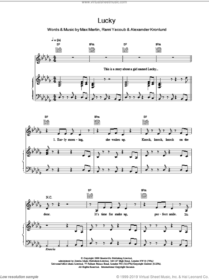 Lucky sheet music for voice, piano or guitar by Britney Spears, intermediate skill level