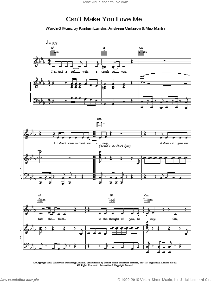 Can't Make You Love Me sheet music for voice, piano or guitar by Britney Spears, intermediate skill level