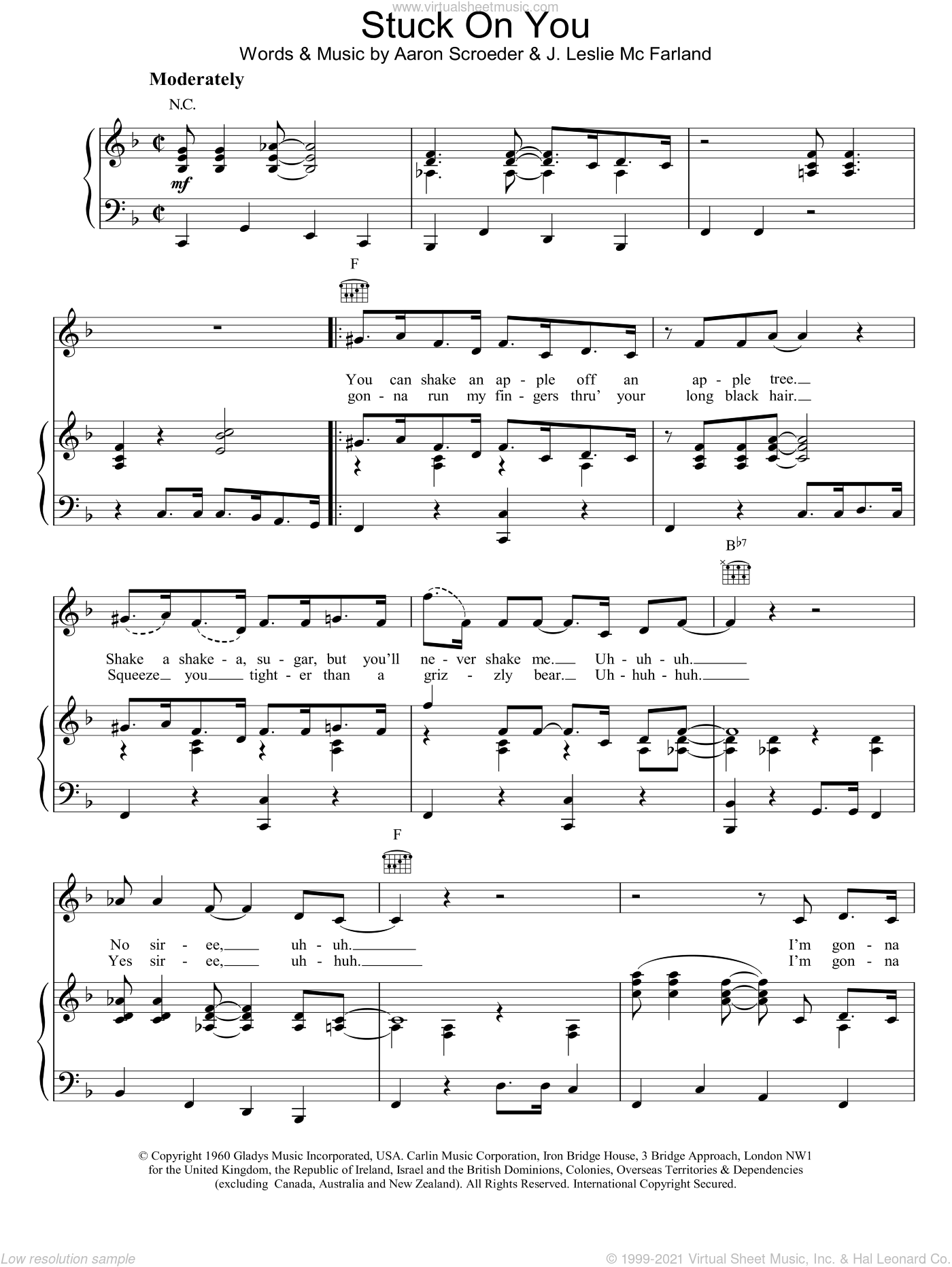 Stuck On You sheet music for voice, piano or guitar by J. Leslie McFarland