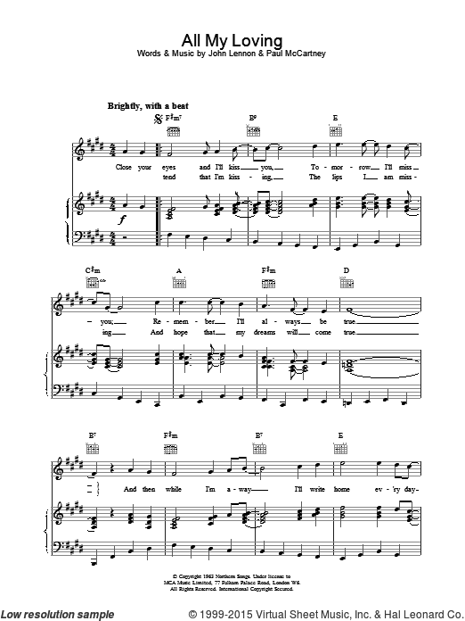 All My Loving (COMPLETE) sheet music for voice, piano or guitar by The Beatles