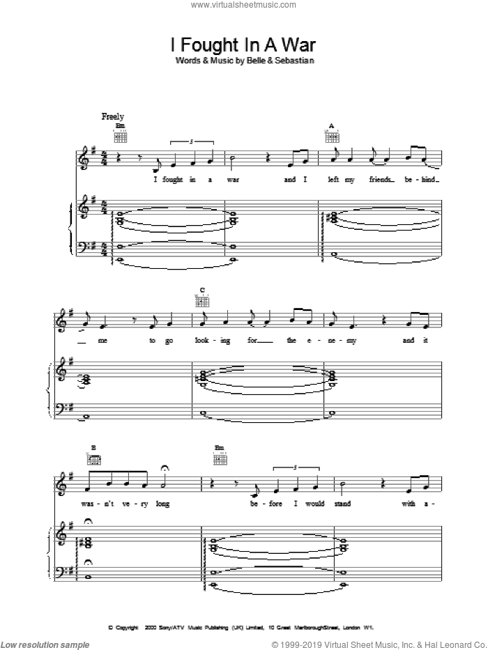 I Fought In A War sheet music for voice, piano or guitar, intermediate. Score Image Preview.
