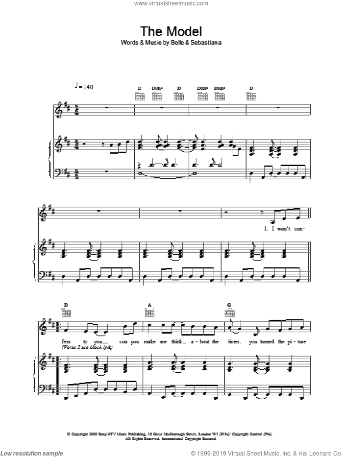 The Model sheet music for voice, piano or guitar. Score Image Preview.