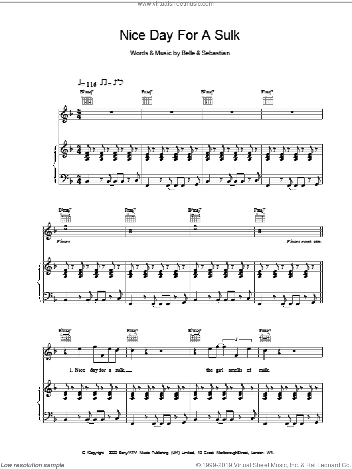 Nice Day For A Sulk sheet music for voice, piano or guitar, intermediate