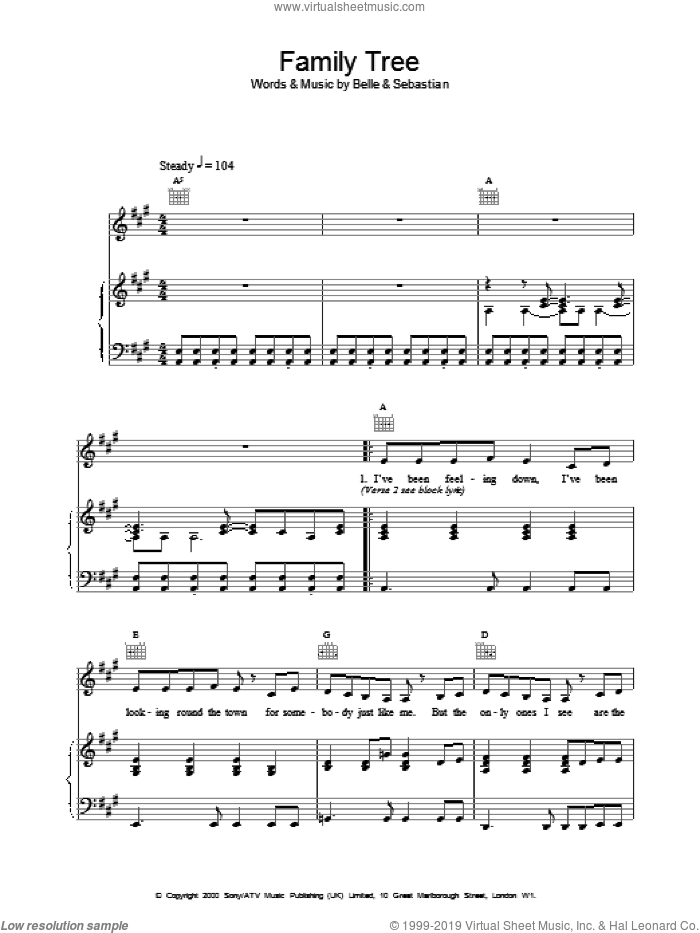 Family Tree sheet music for voice, piano or guitar, intermediate