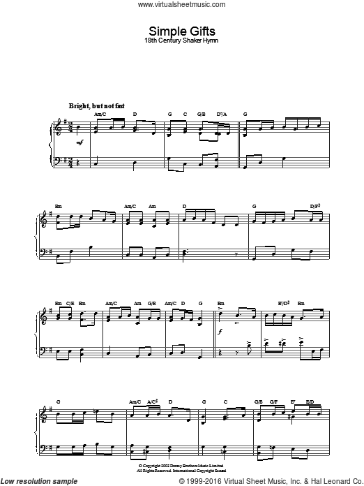 Simple Gifts sheet music for piano solo. Score Image Preview.