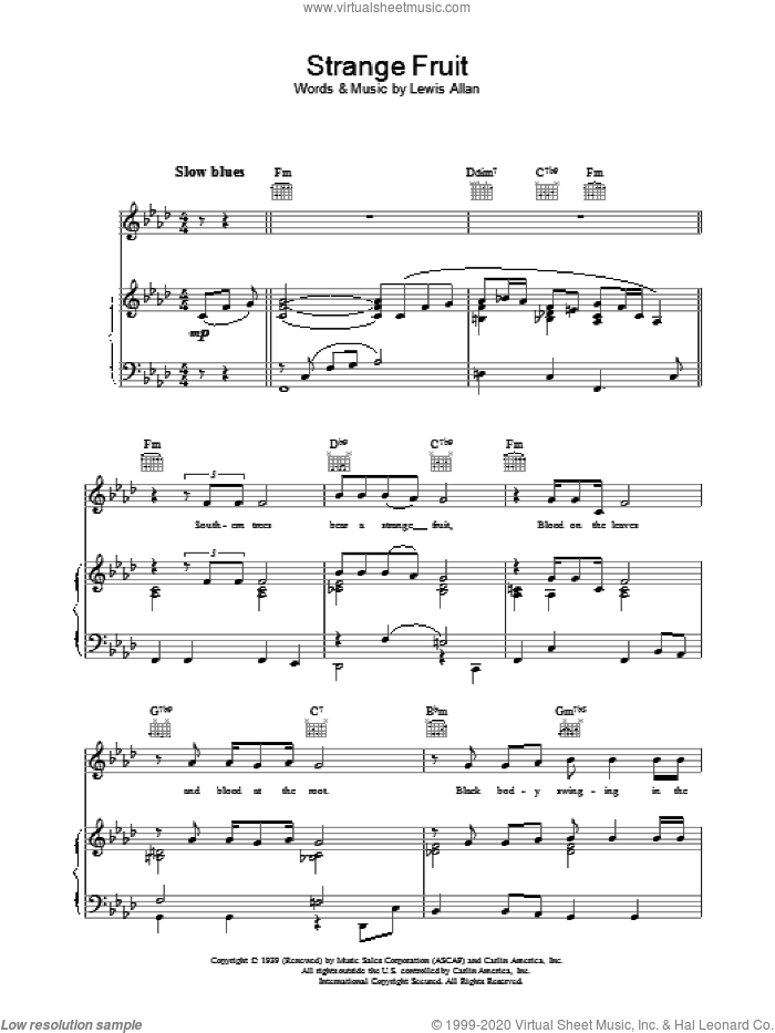 Strange Fruit sheet music for voice, piano or guitar by Lewis Allan