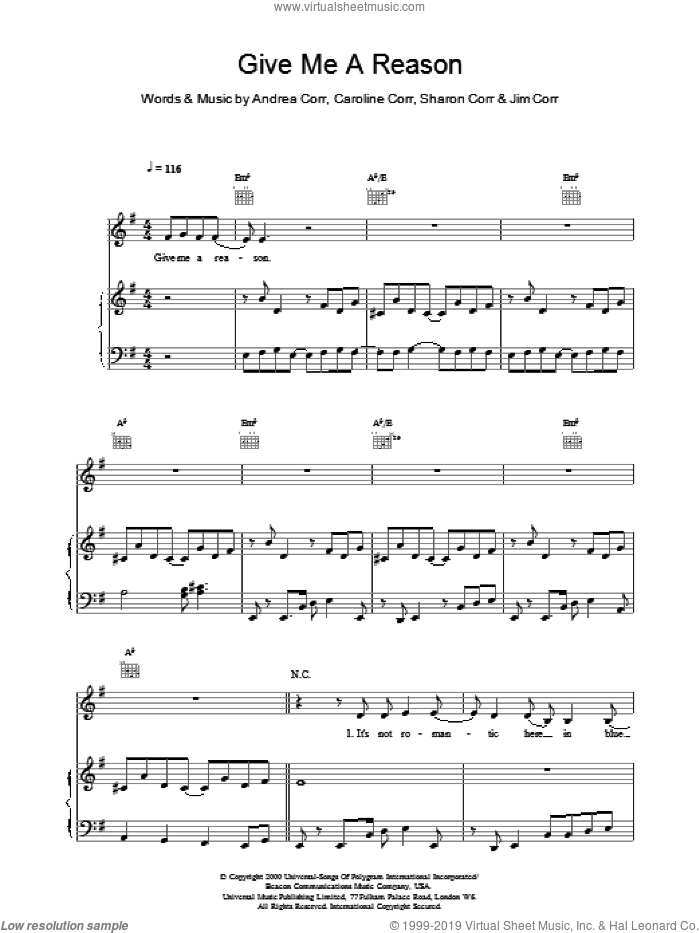 Give Me A Reason sheet music for voice, piano or guitar by The Corrs. Score Image Preview.