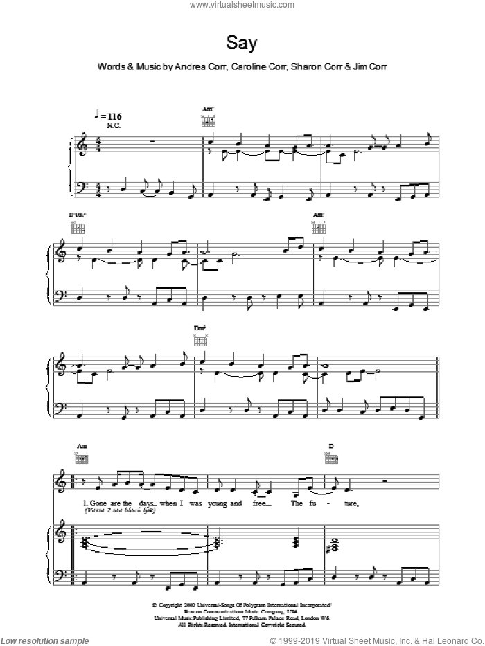 Say sheet music for voice, piano or guitar by The Corrs. Score Image Preview.