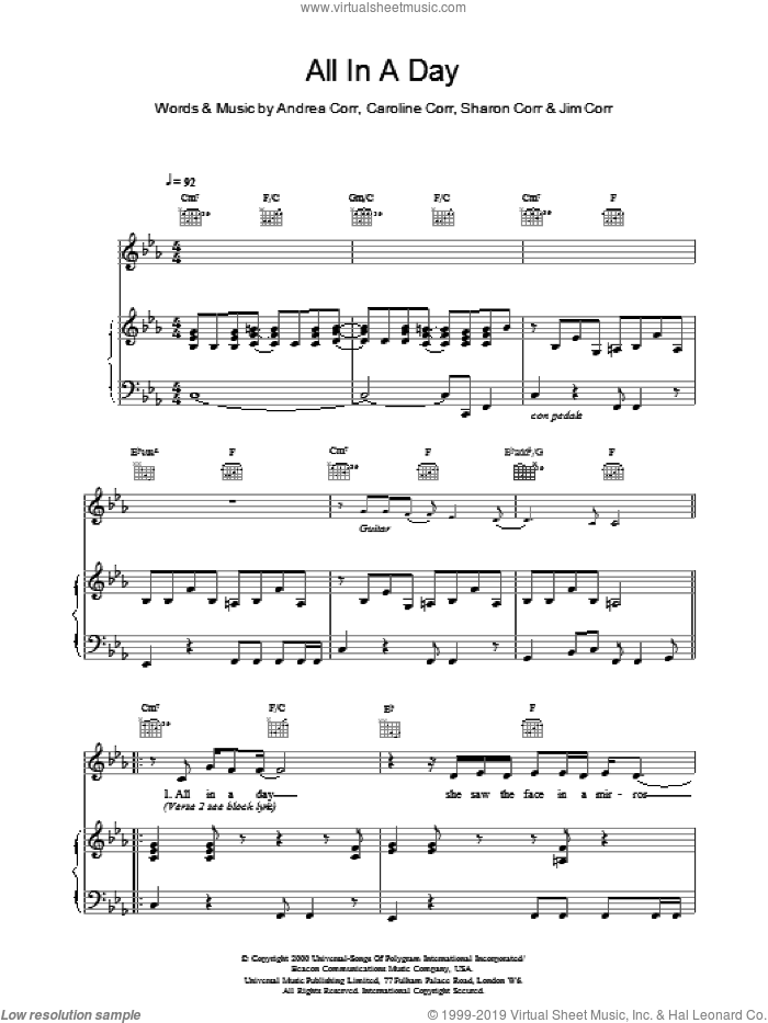 All In A Day sheet music for voice, piano or guitar by The Corrs. Score Image Preview.
