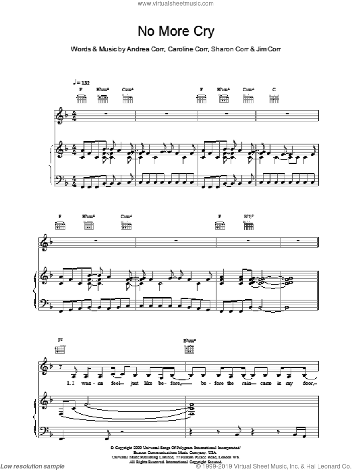 No More Cry sheet music for voice, piano or guitar by The Corrs, intermediate voice, piano or guitar. Score Image Preview.