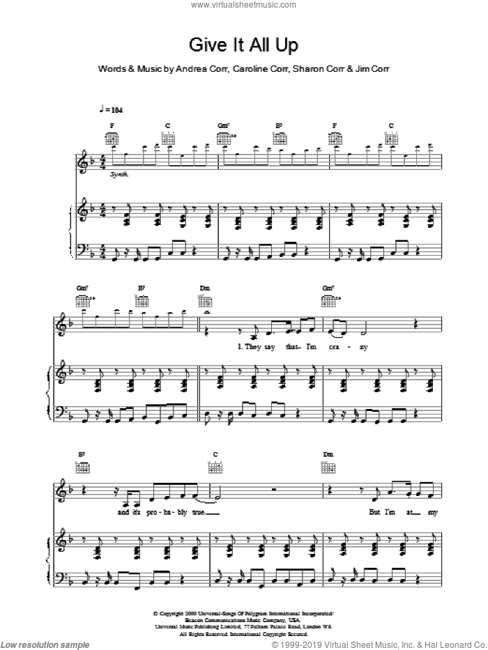 Give It All Up sheet music for voice, piano or guitar by The Corrs. Score Image Preview.
