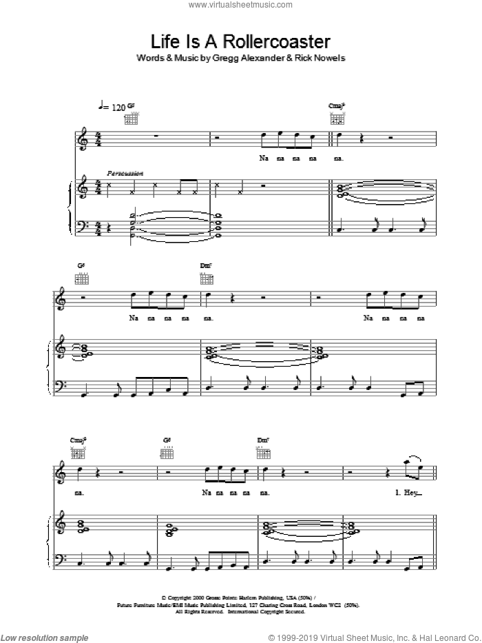 Life is a Rollercoaster sheet music for voice, piano or guitar by Ronan Keating. Score Image Preview.