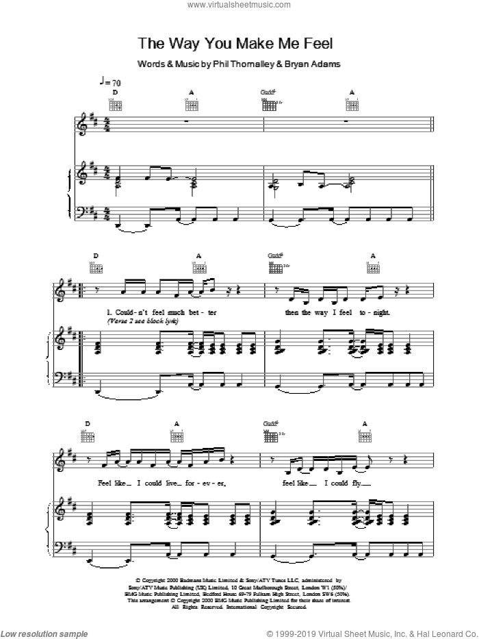 The Way You Make Me Feel sheet music for voice, piano or guitar by Ronan Keating