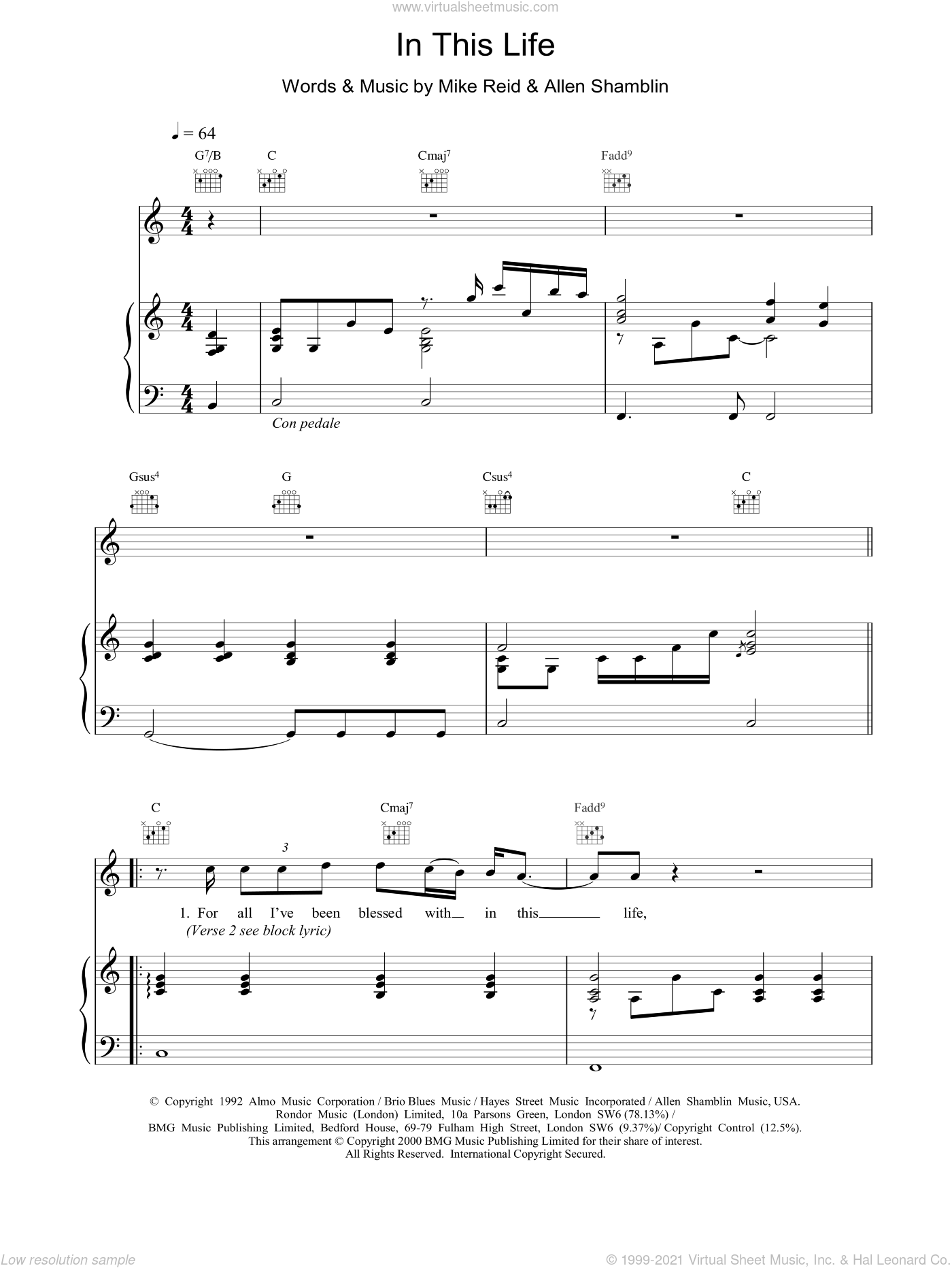 In This Life sheet music for voice, piano or guitar by Ronan Keating
