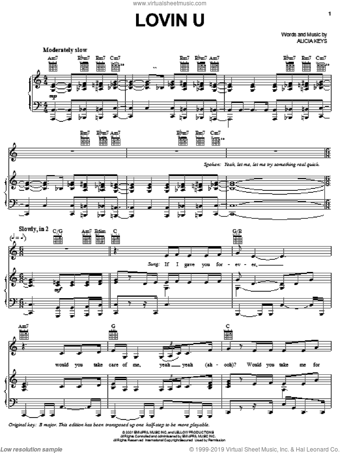 Lovin U sheet music for voice, piano or guitar by Alicia Keys. Score Image Preview.
