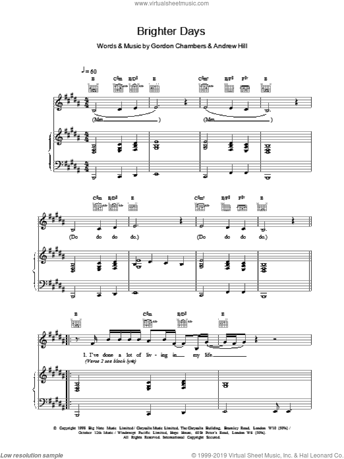 Brighter Days sheet music for voice, piano or guitar by Ronan Keating. Score Image Preview.