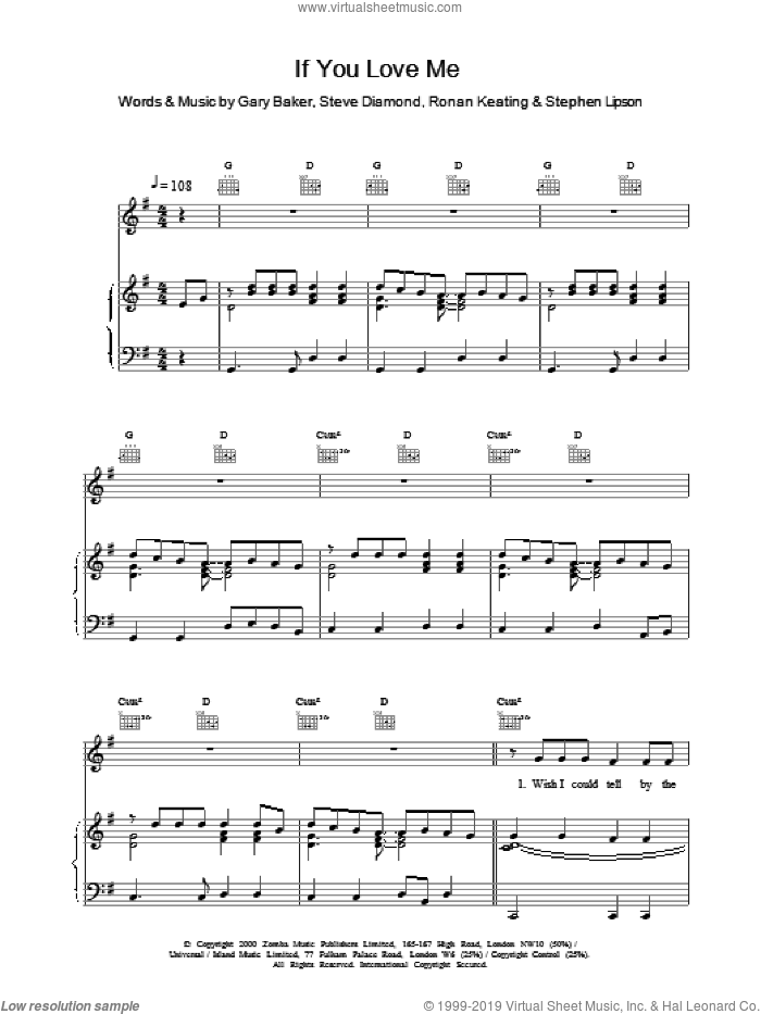 If You Love Me sheet music for voice, piano or guitar by Ronan Keating. Score Image Preview.