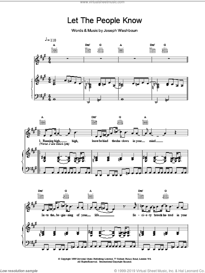 Let The People Know sheet music for voice, piano or guitar by Toploader. Score Image Preview.