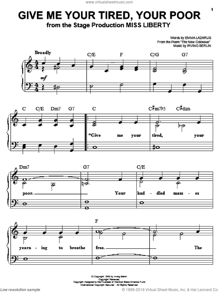 Give Me Your Tired, Your Poor sheet music for piano solo by Irving Berlin and Emma Lazarus, easy skill level
