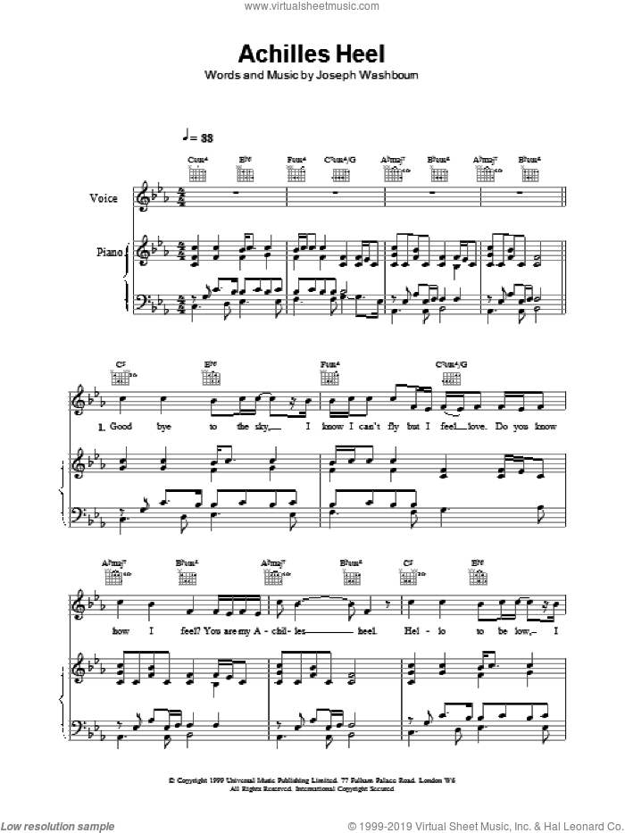 Achilles Heel sheet music for voice, piano or guitar by Toploader, intermediate. Score Image Preview.