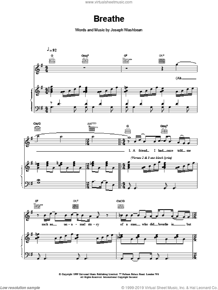 Breathe sheet music for voice, piano or guitar by Toploader, intermediate