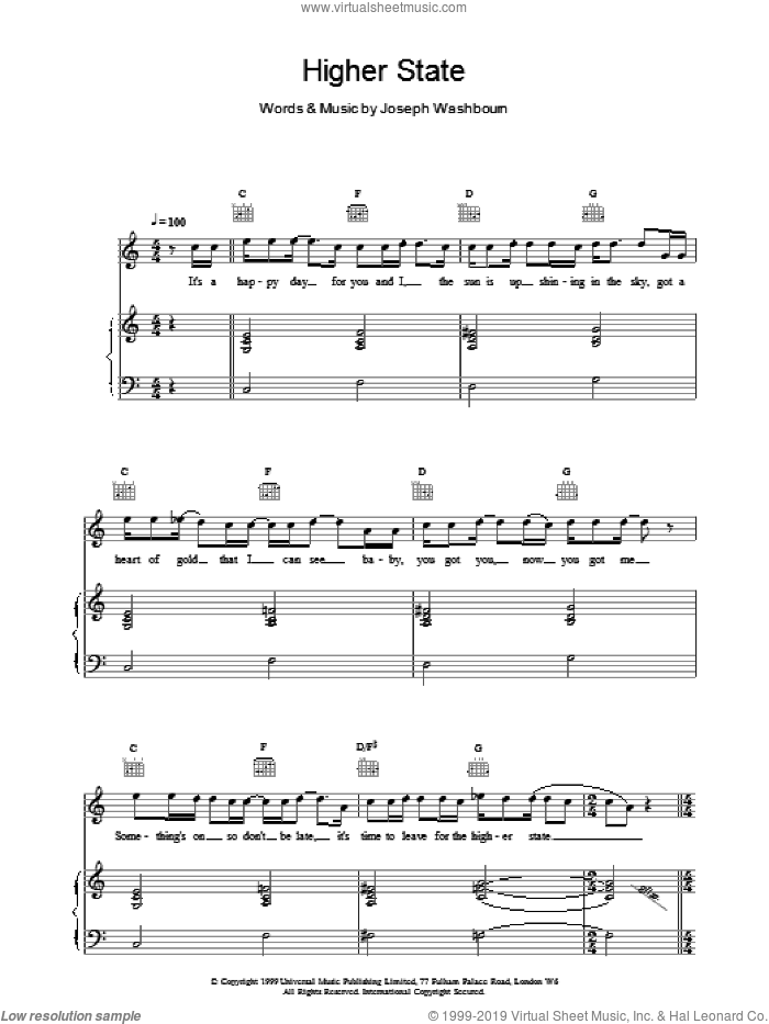 Higher State sheet music for voice, piano or guitar by Toploader. Score Image Preview.