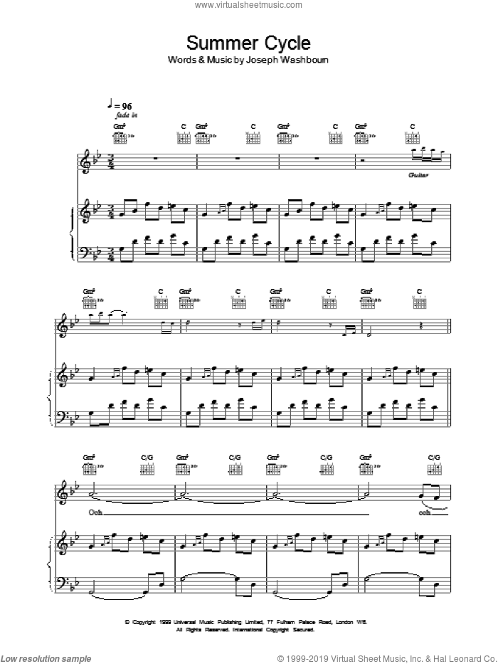 Summer Cycle sheet music for voice, piano or guitar by Toploader. Score Image Preview.