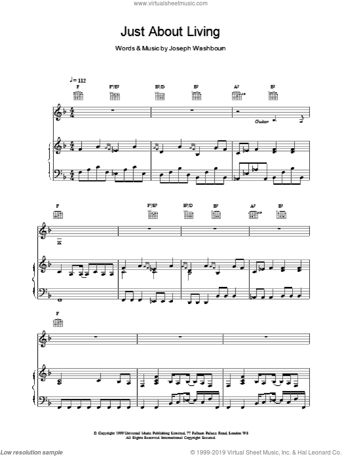 Just About Living sheet music for voice, piano or guitar by Toploader