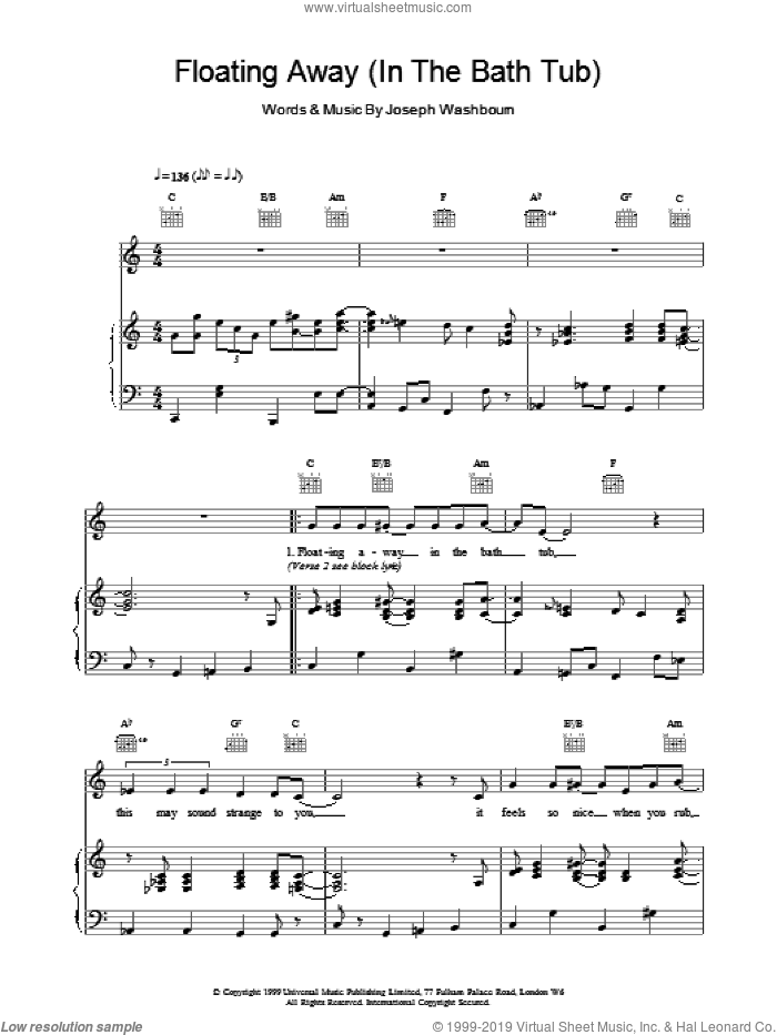 Floating Away sheet music for voice, piano or guitar by Toploader. Score Image Preview.