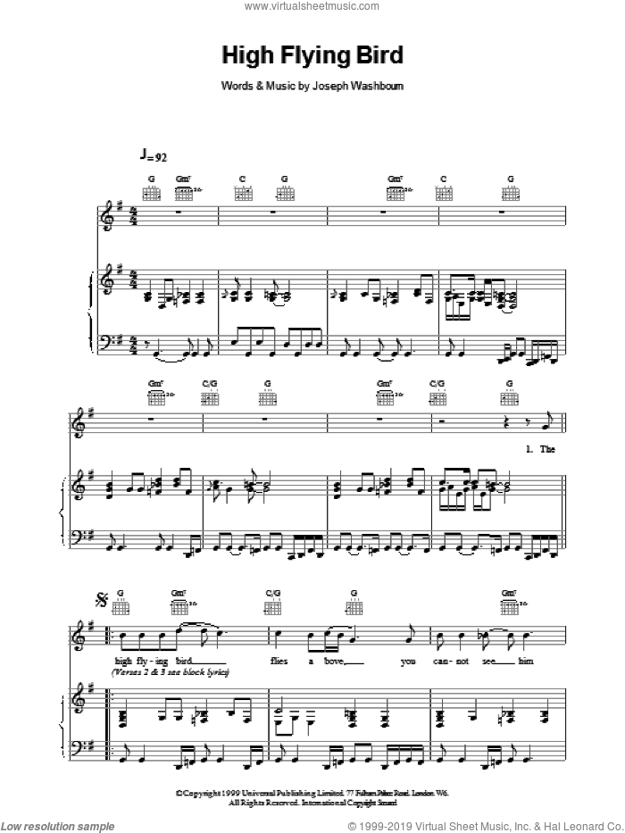 High Flying Bird sheet music for voice, piano or guitar by Toploader, intermediate skill level