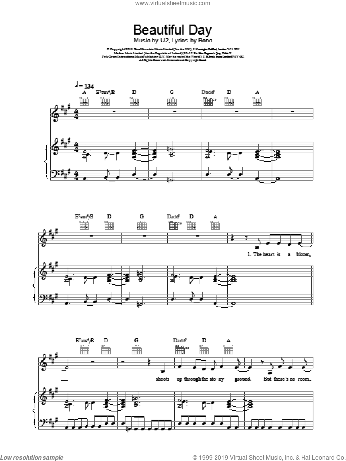 Beautiful Day sheet music for voice, piano or guitar by Bono and U2. Score Image Preview.