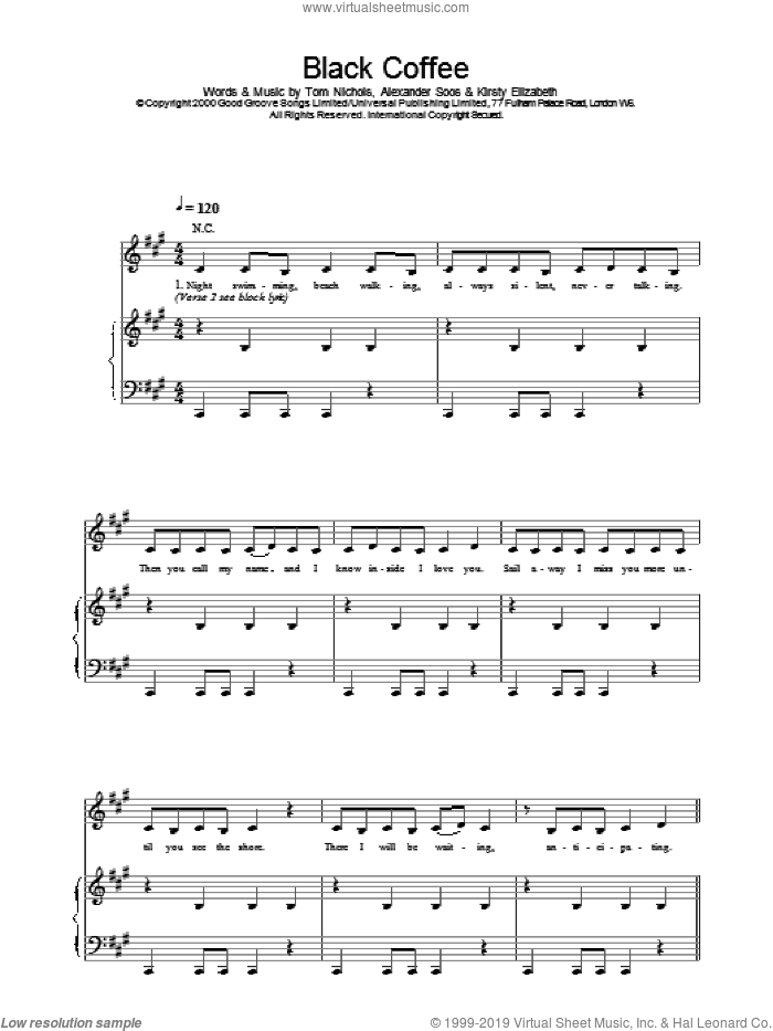 Black Coffee sheet music for voice, piano or guitar by All Saints, intermediate skill level