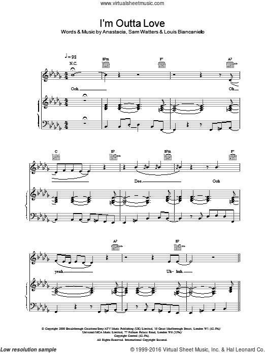 I'm Outta Love sheet music for voice, piano or guitar by Anastacia. Score Image Preview.